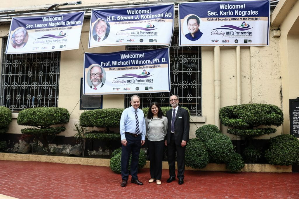 School of Education delegates are welcomes with banners in the Philippines.
