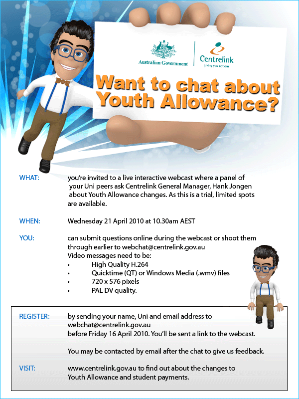 YOUTH ALLOWANCE Need info Join the online chat and get the – Youth Allowance Form