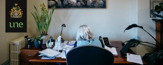 Vice-Chancellor, Professor Brigid Heywood at her desk