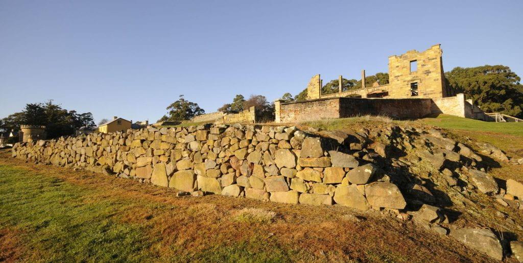 Dolerite retaining wall