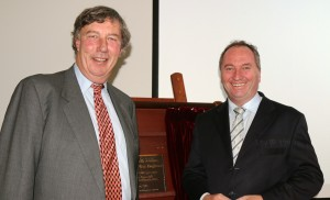 UNE Chancellor James Harris with Barnaby Joyce MP