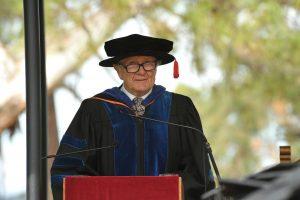 Prof. Snow Barlow presenting the occasional address at Autumn Graduation.