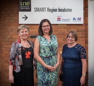 Professor Alison Sheridan, head of UNE' Business School; Catherine Eibner, GM of Startups with Blue Chilli Technologies; and UNE VC, Professor Annabelle Duncan, at the launch of the UNE SMART Region Incubator.