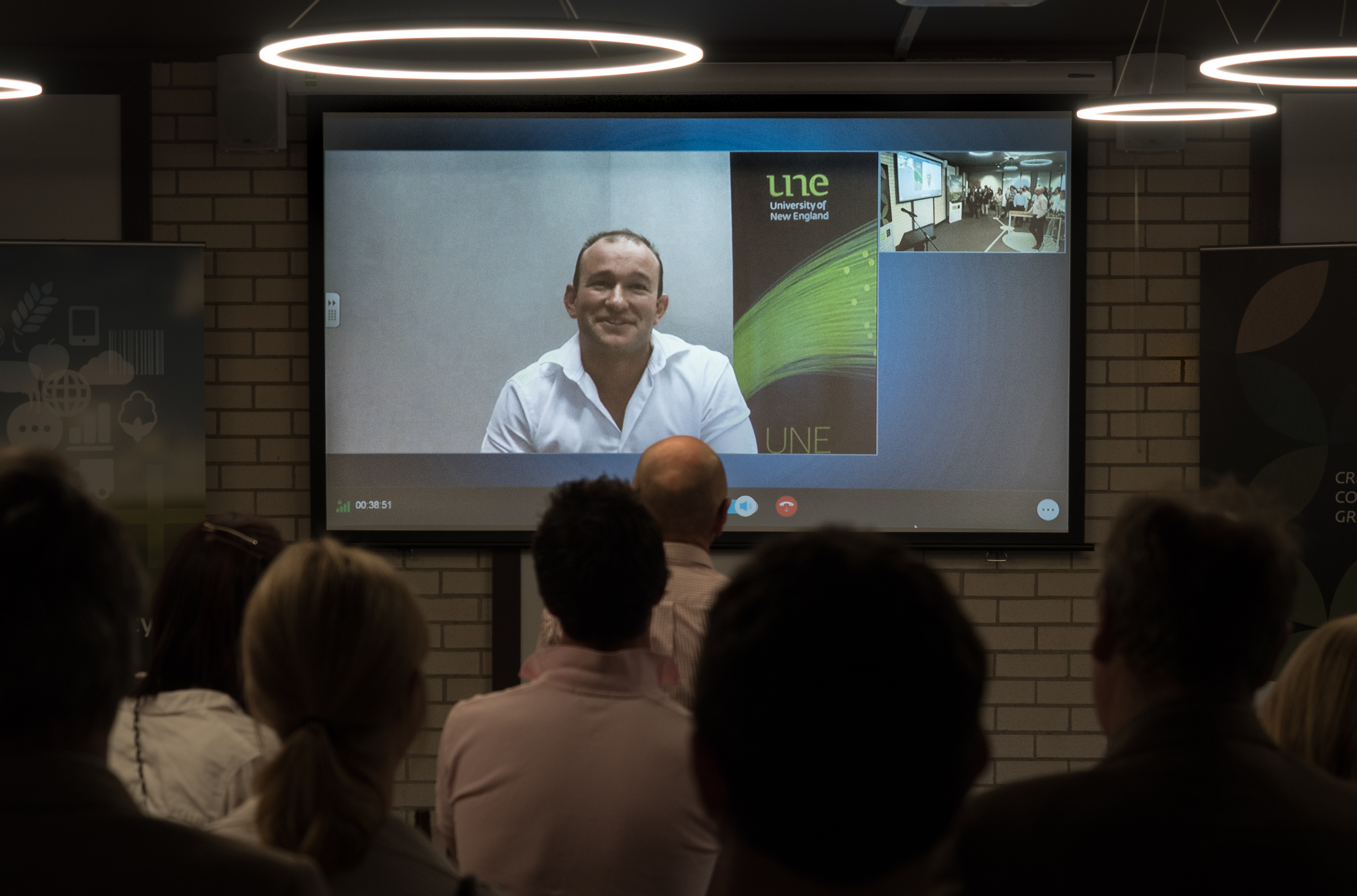 Simon Blyth of the LX Group launches the UNE SMART Region Incubator in Armidale via Skype.