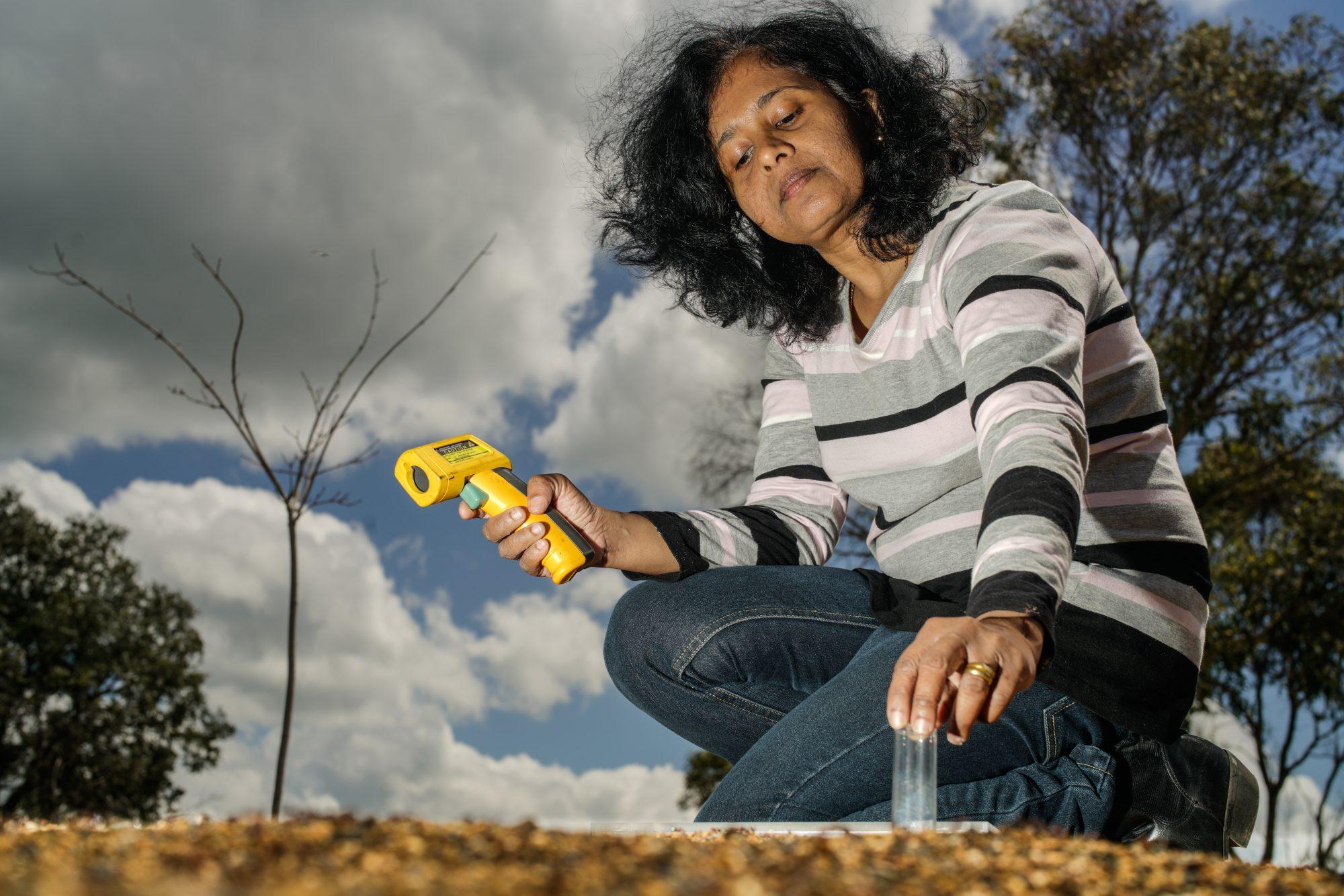 Nirosha Ranbawaka testing soil