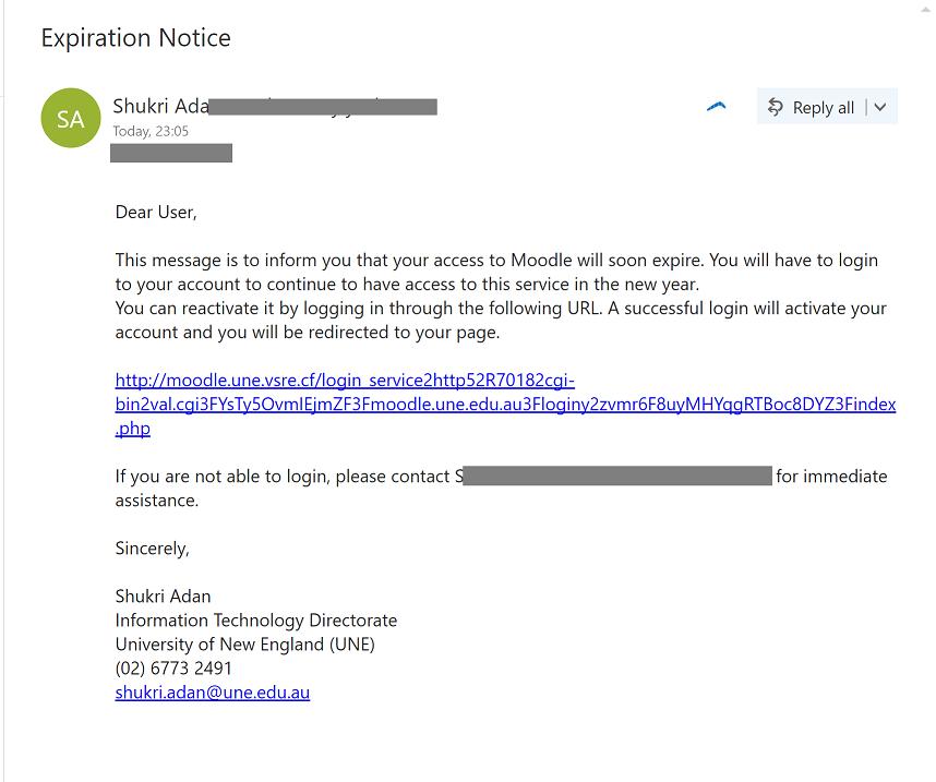 UNE Service Announcements | Spam / Phishing Alert – Moodle