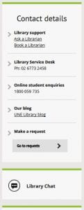 Library contact options - phone, email, chat
