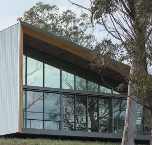 Smart Farm buidling with glass facade and doors.