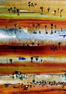 Australian landscape painting (detail), 2011. Artist: Dr Meg Vivers