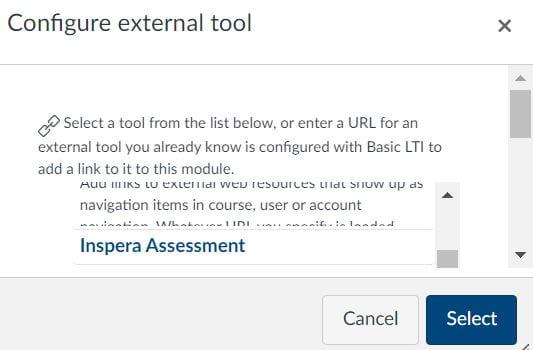 Inspera Assessment option in the external tool list