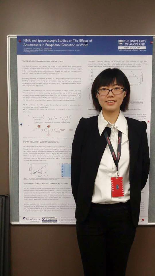 Yu and her poster at the Research Showcase