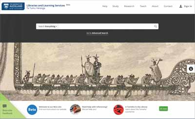 University of Auckland Libraries and Learning Services beta website - desktop view
