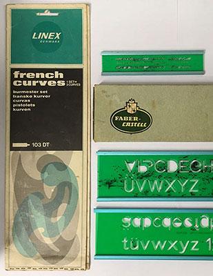 Faber Castell plastic lettering stencils