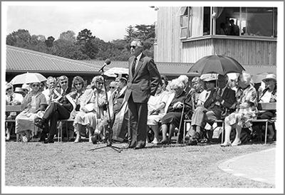 Sir Hugh Kawharu speaking at the opening of Waipapa Marae, 1988