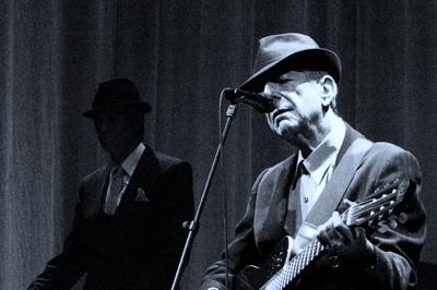 Leonard Cohen performing