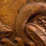 Detail of General Library whakairo panel (2017)