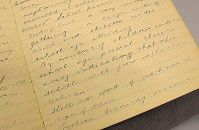 Detail of handwriting in Oromahoe Native School Logbook
