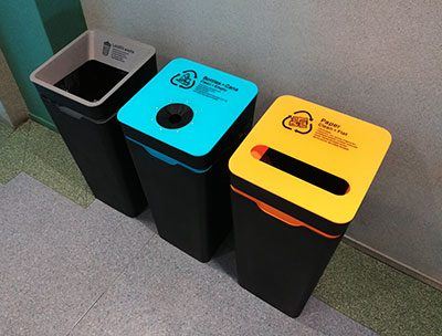 Set of three bins including two for recycled materials