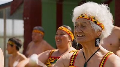 Still of Patea Maori Club performers from documentary Poi E: The Story of Our Song