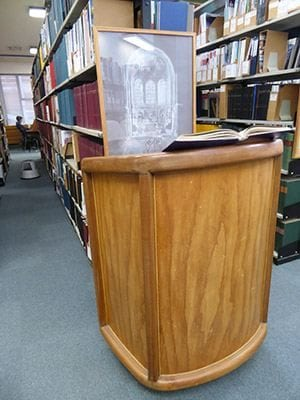 Wooden pulpit in library