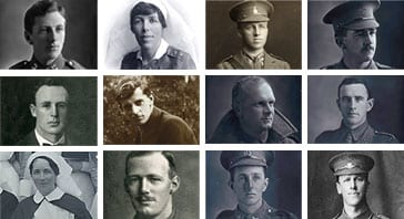 Mosaic of photographs of Collegians who served in the First World War