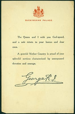 Letter from King George V to military personnel after the war
