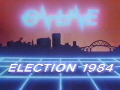 Still from On Line 1984 Election, with the Auckland city skyline in the background.