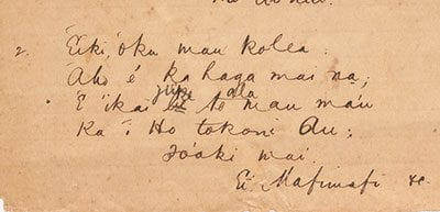 Tongan hymn verse. Edwin S. Harkness papers. Special Collections.