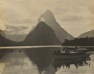 Milford Sound pictured in New Zealand, 1928. NZ Glass Case 919.5045 N531