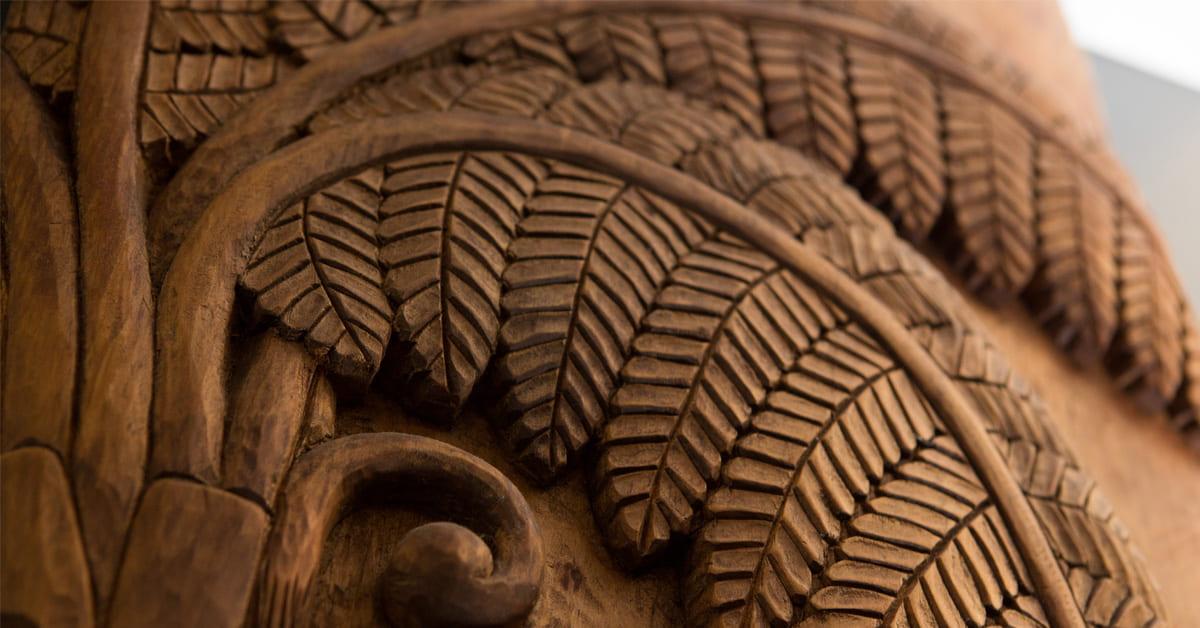 etail from Whakairo carved by Tim Coyre in Te Herenga Mātauranga Whānui (General Library).