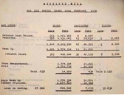 Detail: Kauri Timber Company Auckland Mill summary, 1934. 2