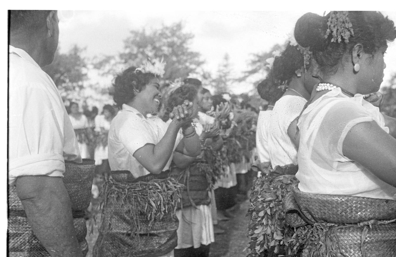Dancers performing a lakalaka during the Coronation of King Tāufa'āhau Tupou IV celebrations at Mala'e Pangai, Nuku'alofa, Tonga in 1967
