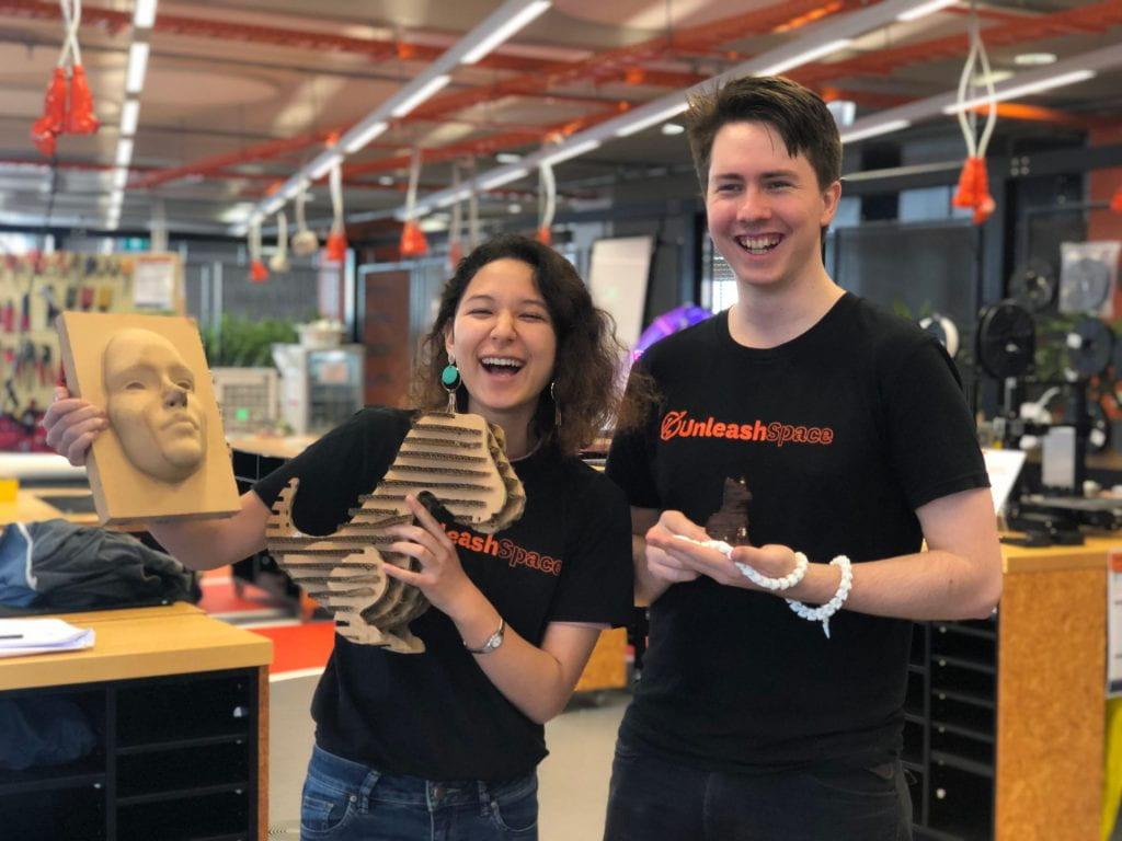 Hayden and Ariel in Maker Space