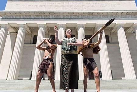Maori performers in front of the Auckland War Memorial Museum