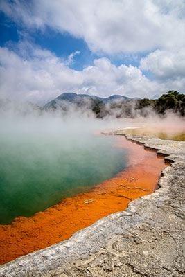 Steaming champagne pool in Rotorua
