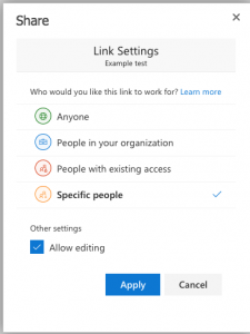 Link setting