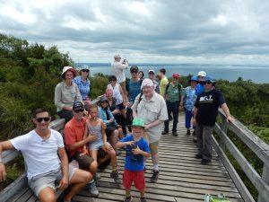 Everyone at the top of Rangitoto