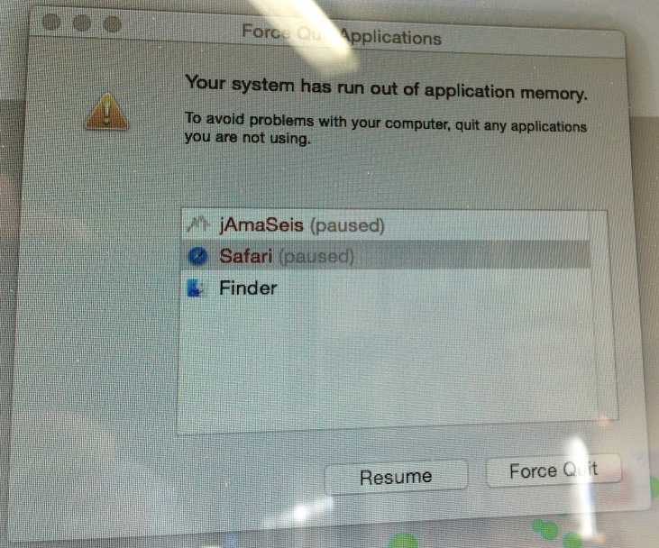 Force Quit Apps - System run out of application memory