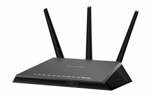 A wireless network router.