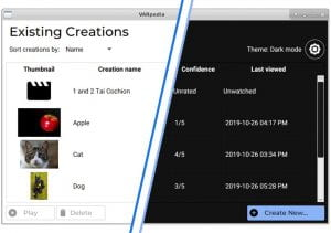 """A screenshot of a software application with a list of video """"creations"""". Half of the screen is in dark mode."""