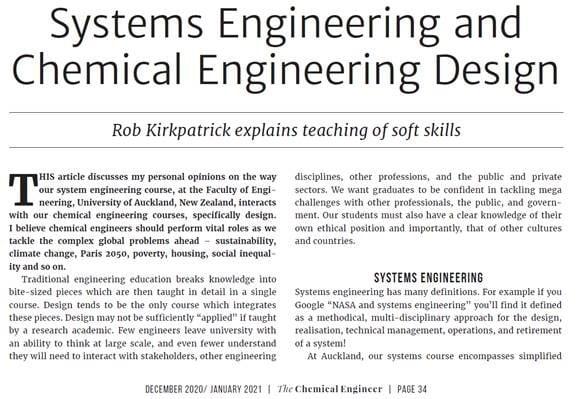 "CHEMMAT's Adjunct Professor Rob Kirkpatrick's article in ""The Chemical Engineer"""