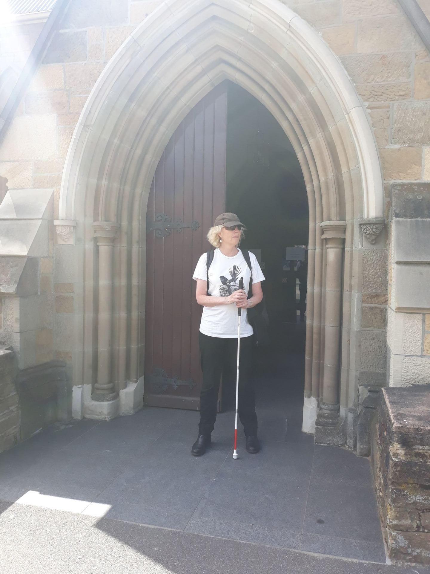 Michele outside All Saints Anglican Church