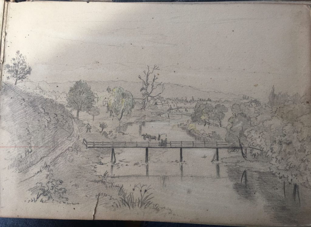 Sketch looking down on Maitai river, the Pukatea tree in the distance, several bridges visible up-river, one close and two in the distance
