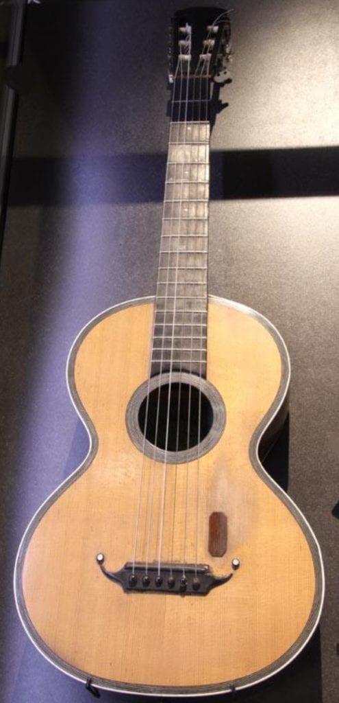 Edwin Harris guitar at Puke Ariki. A71.548.