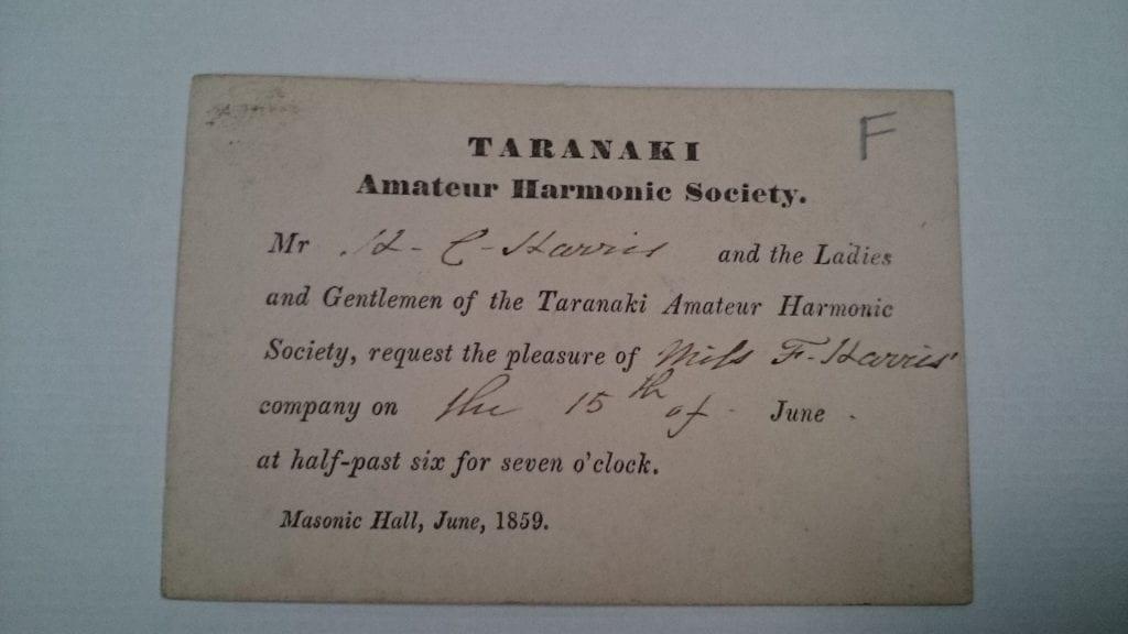Invitation to Miss F Harris to attend Taranaki Amateur Harmonic Society concert