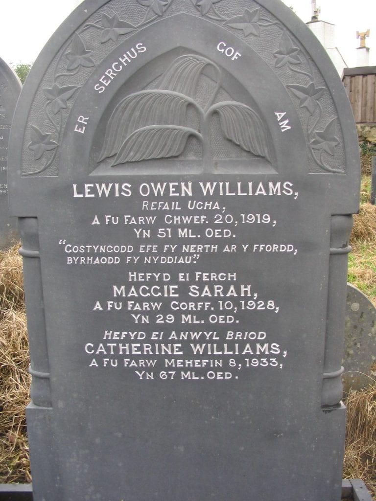 Slate headstone of Lewis Owen Williams