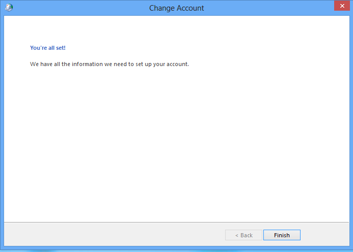Outlook 2013 mail account setup finished