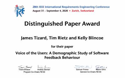 Distinguished paper award at RE 2020