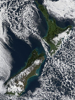 Aotearoa New Zealand from space. Credit: NASA.