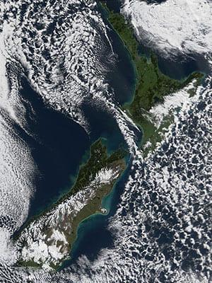 Aotearoa New Zealand from space. Credit: NASA.